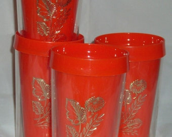 set of four flower glasses orange daisy drinking glasses flower cups sweatproof glasses leaves and flowers mugs gold and orange