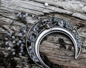 MoonChild // Crescent Moon and Skull Mixed Metalsmith Necklace with rhinestone accent by BellaLili