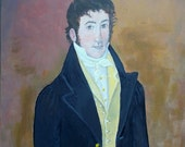 The Young Master - Original Naive Colonial-style Portrait American History Acrylic Painting on 12  x 16 Canvas