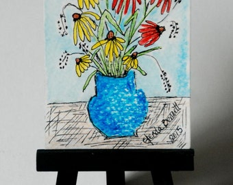 "ACEO "" Sneezeweed In A Blue Vase "" Original on Heavy Art Paper"