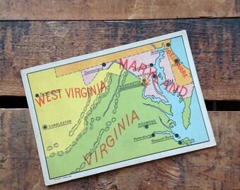 Vintage United States Geography Flash Card - West Virginia, Virginia, & Maryland