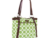 Green Circles Laptop Bag in Green and White- Laptop Tote - Kailo Chic - Canvas and Vegan Leather