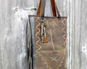 Leather Tribal Arrow Carpet Bag from Anatolian Textile with Fringe by Stacy Leigh Ready to Ship