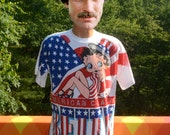 vintage 90s t-shirt BETTY BOOP glitter american flag classic cartoon Large white