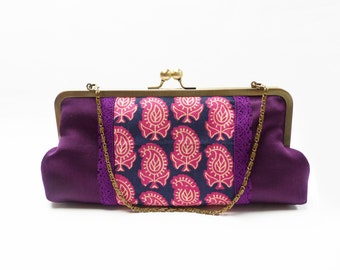 Purple block printed Indian cotton fabric clutch bag with detachable chain handle