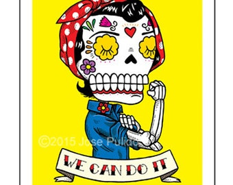 Rosie the Riveter Calavera Archival Art Print 8 x 10 or 5 x 7