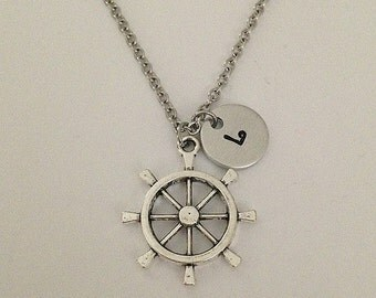 Personalized initial ship wheel necklace hand stamped jewelry charm necklace ship wheel pendant