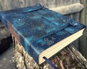 Handpainted Starry Night Blue Leather Journal or Sketchbook - Free Monogram Personalized