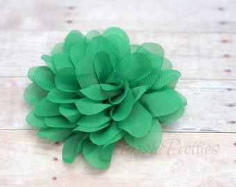 Emerald Flower Hair Clip - Petal Flower- Flower Hair Clip - Alligator Clip - With or Without Rhinestone Center