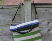 Reserved for Lesley Striped Wool Fold Over Purse Cross Body Bag Striped Wool Bag in  Blue Green and Light Gray