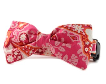 Pink Bow Tie Dog Collar - Pink and Orange Bow Tie Collar - Dog Bow Tie Collar - Arden Bow Tie Dog Collar - Orange Pink Bowtie Dog Collar