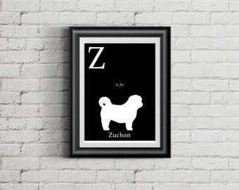 Alphabet Art Print - dog art print - Z is for Zuchon Art Print - Modern Home Decor - dog silhouette art print