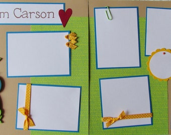 12x12 PERSONALIZED Premade Scrapbook Pages ~ BaBY BoY ~ personalize title with baby's name, new baby, baby first year album, newborn