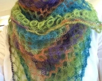Handmade Colorful Net Crochet Shawl