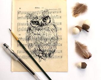 Scops Owl Gocco Print on Vintage Music