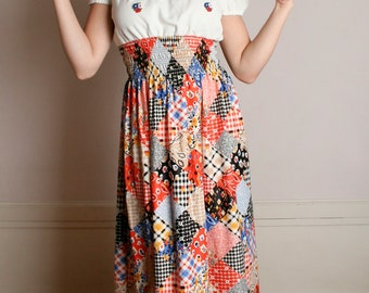 Vintage 1970s Maxi Dress - Patchwork Colorful Country Girl Dress - Medium