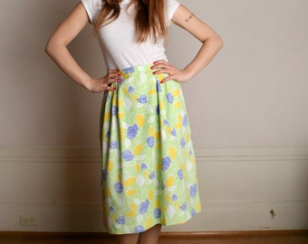 "Vintage Floral Skirt - Lime Green & Purple Lilly Pulitzer Print A-Line Skirt - Large XL 32"" waist"