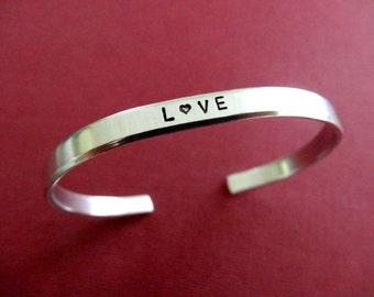 Love Bracelet - Personalized Bracelet - Love Cuff Bracelet - 1/5 inch cuff
