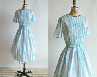 1950s Day Dress --- Vintage Blue Striped Shirtwaist Dress