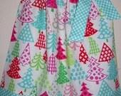 Christmas Dress Pillowcase Dress Festive Trees Pink & Aqua Holiday Dress baby dress toddler dress girls dress Whimsical Christmas Outfit
