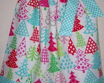Christmas Dress Pillowcase Dress Festive Trees Pink & Aqua Holiday Dress baby dress toddler dress girls dress Whimsical Christmas