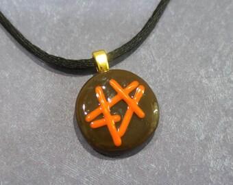 Mini Fused Glass Necklace, Fused Glass Pendant, Brown, Orange - Autumn Fun - 1663 12