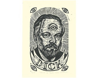 Art, Philip K. Dick Fine Art Linocut Print Portrait, Wall Art Print