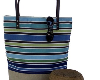 Blue Stripe Tote, Market Tote, Burlap Beach Bag, Summer Tote, Tote Bag, Carry All, Stripe Bag, Cotton Leather Tote, Resort Bag, Burlap Tote