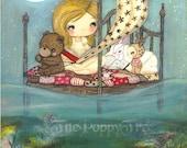 Sailer Print Girl Bear Rabbit Deer Animal Children Wall Art---My Bed is a Boat LARGE PRINT 11 x 14