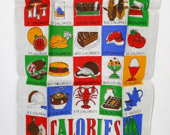 Vintage NOS Calories Towel - Novelty Print - Kitchen Hand Tea Towel - Pure Linen - Food 60s