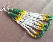 Native American beaded earrings - Green yellow and white earrings - beadwork earrings - seed beaded earrings