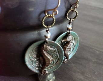 Seahorse earrings - distressed brass earrings - dyed metal earrings - altered brass earrings