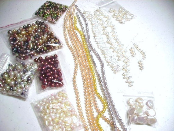 Destash, Lot order, Pearls pink yellow grey white baroque pearls