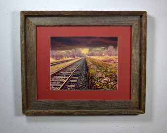 Rustic railroad track  print in recycled 11x14 wood frame
