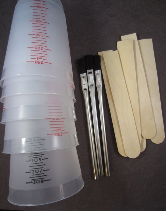 Resin Measure 5 Large Mixing Cups 6 Sticks and 3 Brushes Jewelry Making