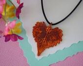 Copper Cottonwood Leaf, Real Leaf,  Copper Leaf, Heart Shaped Leaf, Real Copper Leaf Necklace,  LL66
