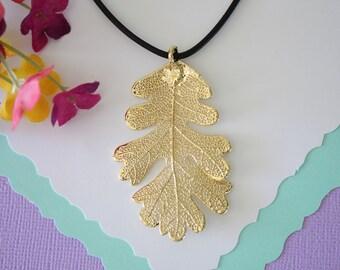 Gold Leaf Necklace, Real Leaf, Oak Leaf Pendant, Gold Lacey Oak Leaf Necklace, Real Leaf Necklace, 24kt Gold Dipped Leaf, LL108