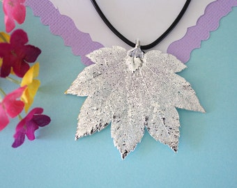 Real Full Moon Maple Leaf, Real Silver Leaf, Real Maple Leaf Necklace, Maple Leaf, Sterling Silver, LL131