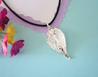 Real Silver Evergreen Leaf, Real Silver Leaf, Real Evergreen Leaf Necklace, Real Leaf, Sterling Silver, LL137