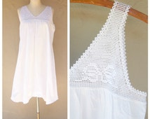 Antique cotton slip bloomers / white cotton sundress / Edwardian lace under dress / boho beach wedding womens medium