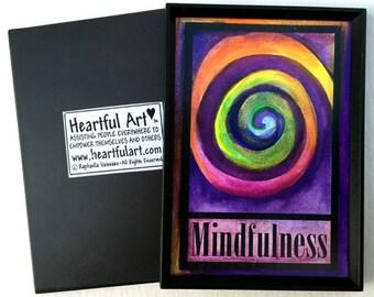 MINDFULNESS Magnet Zen Yoga Meditation Buddhist LAW of ATTRACTION Inspirational Spiral Positive Thinking Heartful Art by Raphaella Vaisseau
