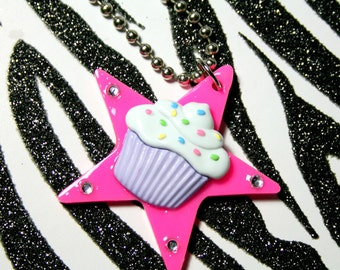 Cupcake Necklace, Pink Star Pendant, Kitsch Kawaii Pastel Jewelry