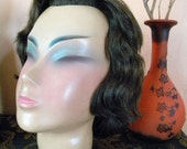 Vintage 1940's Asian Mannequin Head from Germany Wooden Cosmetology Model