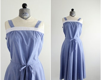 Polka Dot Dress • Vintage 1970s Sundress • Spaghetti Strap Sundress • Swiss Dot Dress • Summer Dress • Sleeveless Dress • 70s Chambray Dress