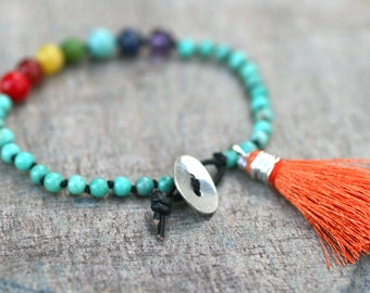 Chakra Gemstone Hand Knotted Black Silk Cord Sterling Silver Button and Orange Silk Tassel Charm Bracelet