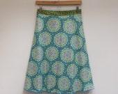 M/L Sweet Medalions Wrap Skirt, A Line Skirt, Knee Length Skirt, Cotton Skirt, Plus Size, Modest