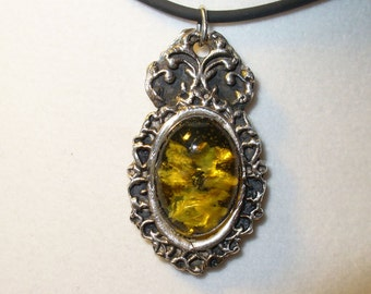 Natural Amber Cabochon in Fine Silver Handmade Pendant Necklace - Genuine Gemstone in Unique Ornate Solid Silver