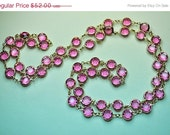 "AUSTRIAN Crystal Bezel Vintage Gold and Pink Crystal Bezel Long 35"" Necklace, Tickled Pink! #a737"