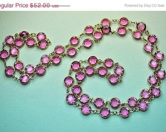 """AUSTRIAN Crystal Bezel Vintage Gold and Pink Crystal Bezel Long 35"""" Necklace, Tickled Pink! #a737"""