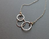 Bold 3 Circle Necklace Argentium Sterling Silver Hammered Links